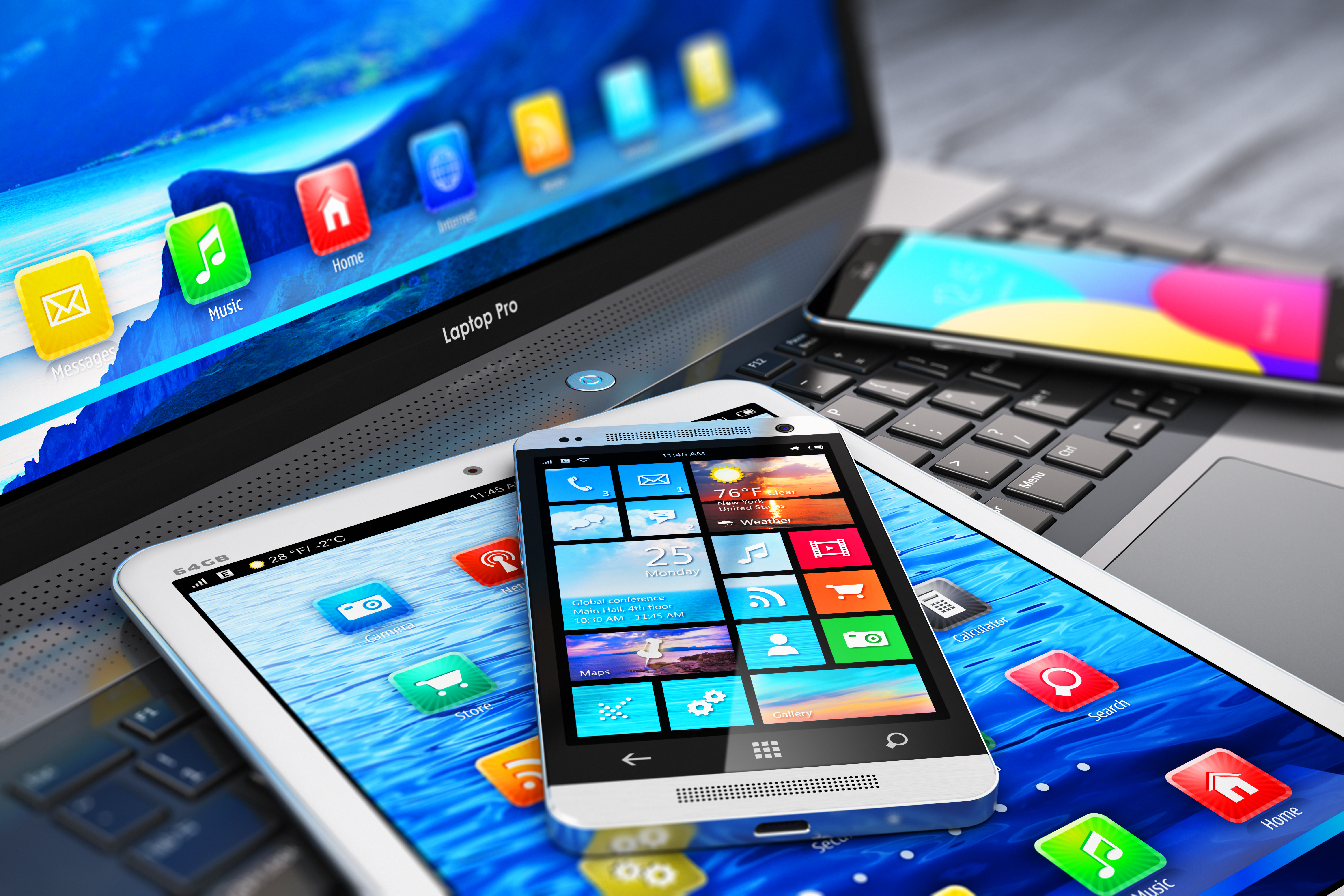 Mobile, tablet and laptop devices
